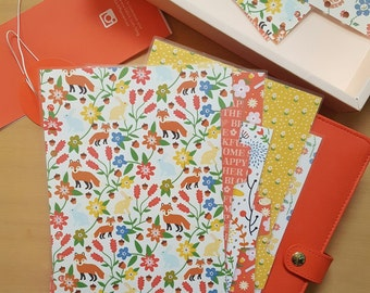 Filofax Planner Dividers - Fall, Foxes, Family: Personal, Pocket Size Hole Punched Laminated