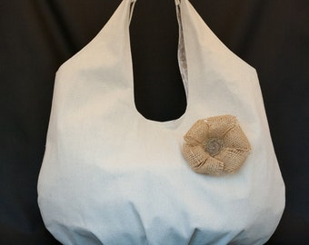 Large Canvas Tote Bag, modern design with flower