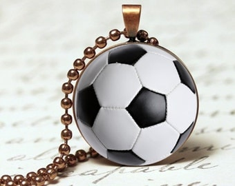 Soccer ball sports pendant necklace