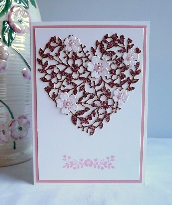Blank romantic card with die cut filigree heart in by ...