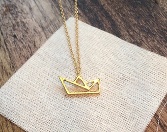 delicate gold necklace - small origami boat charm