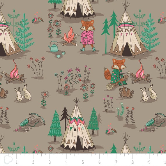 Woodland teepee cotton fabric brown wilderness camelot for Baby nursery fabric yard