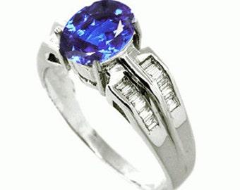 1.04 Carats Tanzanite VS Diamond Ring in 18k White Gold