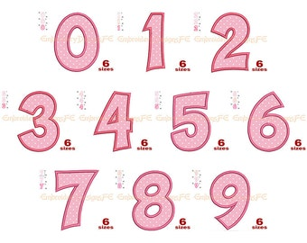 Numbers 0-9 Set Applique - 6 Sizes - Machine Embroidery Design File
