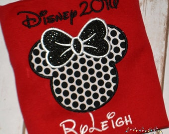 Disney 2016 Shirt, Girls Disney Shirt, Girl Minnie Shirt