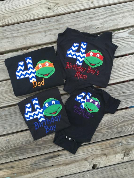 Ninja turtle birthday shirt short sleeve tshirt boy girl blue for Where can i buy ninja turtle shirts