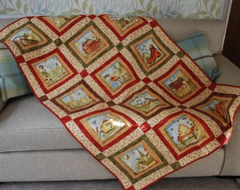 Quilted Throw, Patchwork Quilt, Patchwork Throw, Sew Nice To Be Home Quilt, Quilted Gift