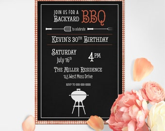 BBQ Invitation, Barbecue Invitation, Bbq Birthday Invitation, Backyard Bbq Invitation, Printable Bbq Invitation, Bbq Invite