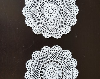 Set of 2, Vintage doilies, Handmade ,Crochet Lace Doily, Lace Napkin, Lace Doily, Vintage Decor, round shape,whitee,210 mm, cotton