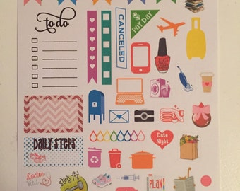 Sampler Sheet Stickers for Erin Condren Life Planner Plum Paper Planner