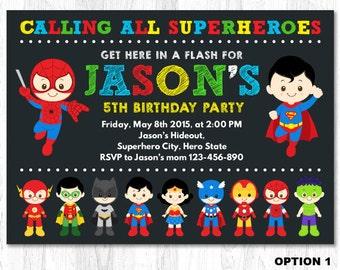 Superhero Invitation, Superhero Birthday Invitation, Superhero Invite, Superhero Birthday Invite