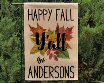 Personalized Happy Fall Yu0027all Garden Flag Or Wall Hanging, Autumn Decor,  Fall