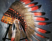 Small Length Native American Headdress, Warbonnet, Indian Style Headdress, Carnival clothing