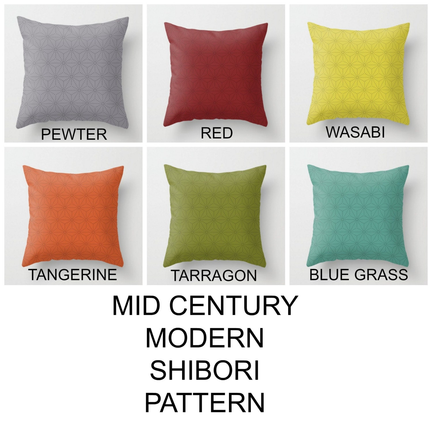 Mid century modern pillows Shibori design Asian inspired