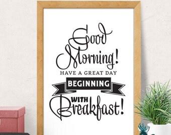 Breakfast print, Kitchen wall Decor, Food Kitchen Art, Art for Kitchen, Kitchen wall Art, Black and White, Kitchen Quote, Foodie Gift