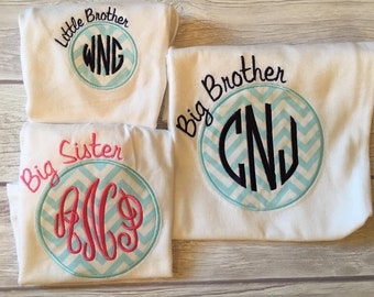 Applique circle sibling shirts with embroidered monogram!