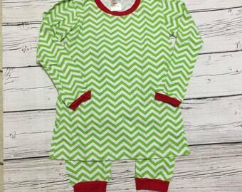 Childrens Lime / Red Striped Christmas Pajamas