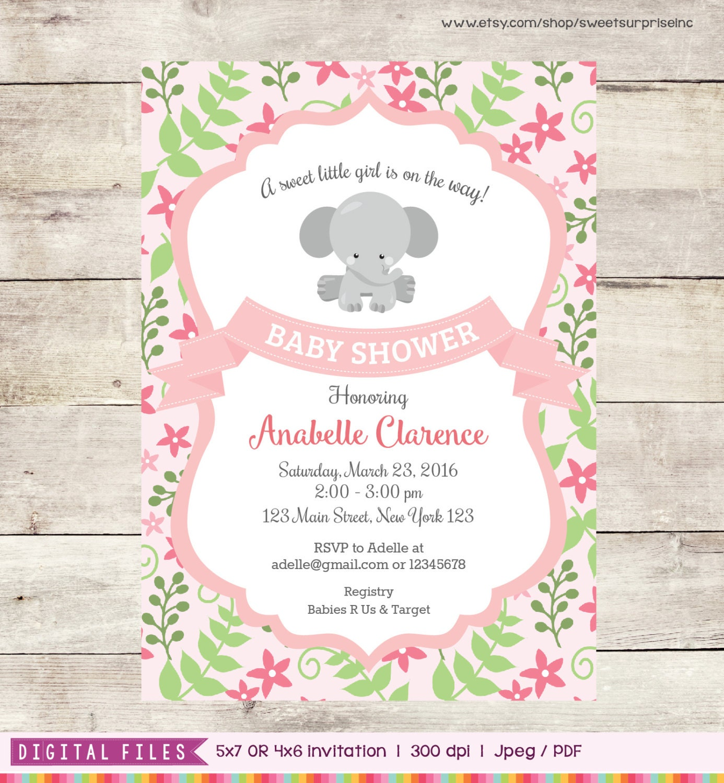 Baby Shower For Third Girl ~ Elephant baby shower invitation invite