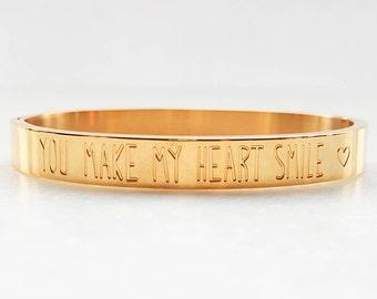 Quote bracelet, Gold bracelet, Quote, Bangles, Solid bracelet, Love bracelet, Friendship bracelet, Valentine bracelet, Gift for her