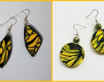 Mesmerised Earrings, Yellow and Black Earrings, Clay Earrings, Dangle Earrings, Polymer Earings, Gift Idea, Gift for Her, Handmade.