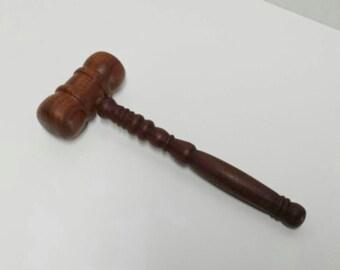 Antique Mallet, Vintage Turned Wood Hammer