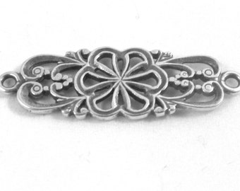 RELO SALE - Link, JBB Findings, antiqued sterling silver, 26x11mm double-sided filigree flower. Sold in Pkg of 2.