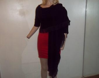 UPCYCLED BLACK WRAP ...sweater with fringe, fringe, fringe...short sleeve...sz lg