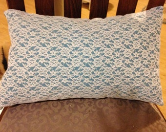 2 Lace over blue pillows