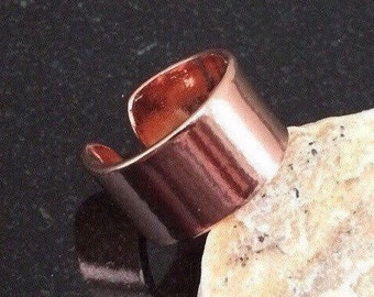 Copper Ring - R07S-SCS Adjustable Smooth Shiny Pure Copper Ring with a 1/2 Inch (1.27 cm) Wide Band - Handcrafted by JW