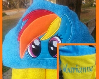 Colorful Horse Hooded Towel with FREE Embroidered Name