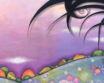 Purple landscape drawing