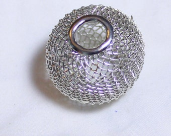 10* 20mm Silver Wire Mesh Beads Basketball Wives Large hole fits bracelet