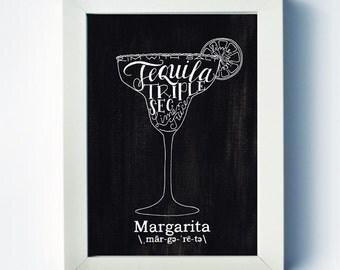 Margarita | Mixed Drink Art | Margarita Recipe Print | Home Bar Art | Two Pockets Art and Design