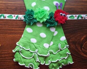 Hungry Caterpillar Green and White Polka Dot Leg Warmers w/ Matching Headband