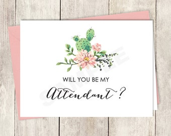 Rustic Will You Be My Attendant Card DIY Printable / Wedding Card / Cactus Succulent, Coral Flower Wreath Fiesta ▷ Instant Download