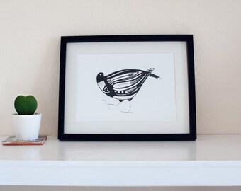 Black and white Bird Print