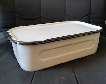 Vintage Enamelware Refrigerator Box with Lid
