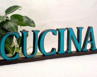 CUCINA Sign - Wooden Word Sign - KITCHEN Sign - Italian - Kitchen Decor - Word Sign - Wood Letters - Word Art Wood Sign - Words - Wood Sign