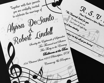 Self Print Music Themed Wedding Invitations