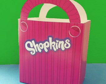 10 Pink Shopping Bags Prints - Shopkins Birthday Party