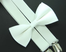 Solid White  bow tie and White Suspender set -BowTie and Suspender Set for Baby,Toddler and Boys