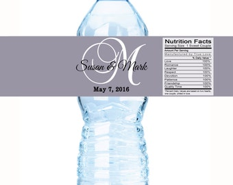 Monogram Water Bottle Labels - Monogram Wedding Labels - Monogram Bottle Wraps - Wedding Favors - Wedding Decor