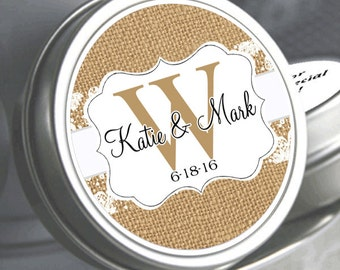Wedding Favors - 12 Personalized Wedding Mint Tins - Ribbon and Lace Monogram - Wedding Mints - Rustic Wedding Favors - Bridal Shower Favors