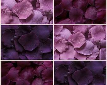 Plum- Eggplant-Lilac Rose Petal Blend- 1,000 Silk Rose Petals