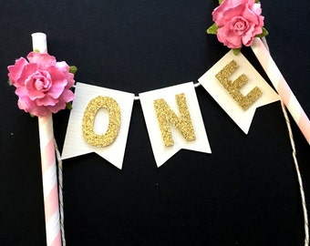 One Bunting cake banner .. cake smash cake topper .. 1st birthday .. pink and gold