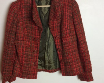 Red Chanel-Inspired Wool Jacket