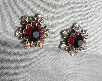 Regal Looking Cranberry Floret Earrings