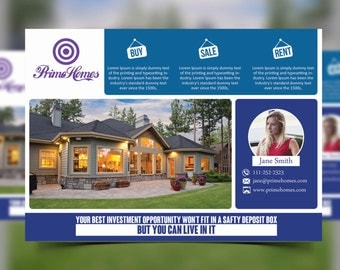 Real Estate advertising postcard Template -Editable in Microsoft Word, Powerpoint and Photoshop - INSTANT DOWNLOAD - KOR-015A