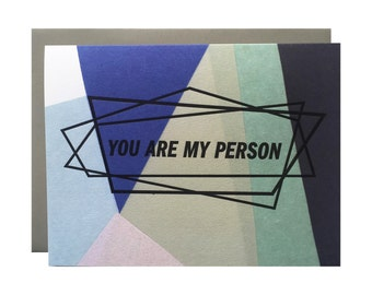 "Letterpress Love Card, ""You Are My Person"", Geometric, Modern"