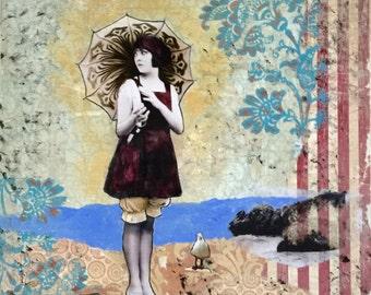 Vintage Bathing Girl, Vintage Photo, Seagull, Beach Decor, Wall Decor, Mixed Media, Print